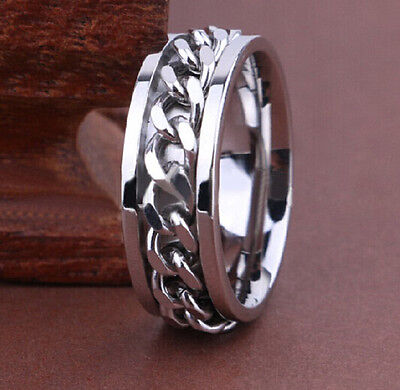30x Quality Comfort-fit Silver 8mm SPIN Chain Stainless Steel Rings Men Jewelry