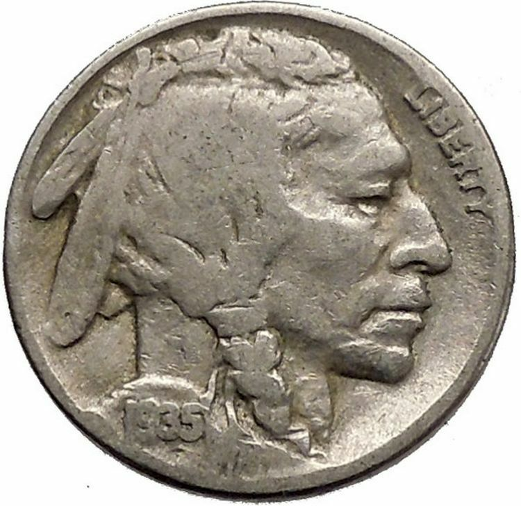 1935 BUFFALO NICKEL 5 Cents of United States of America USA Antique Coin i43784 2