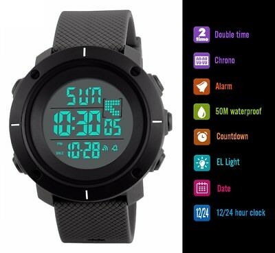 Fashion Men's LED Date Waterproof Digital Quartz Military Army Sport Wrist Watch 6