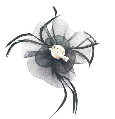 Black Feather Flower Beak Clip Fascinator Weddings Races Ladies Day 2