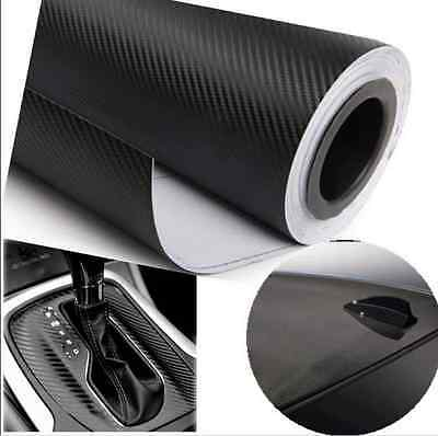 "12""x50"" 3D Black Carbon Fiber Vinyl Car Wrap Sheet Roll Film Sticker Decal Sales 7"