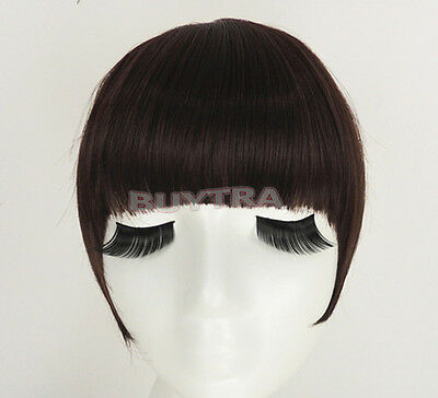 Classic frange clip in on Bangs Straight cheveux brun perruque cheveux noirs~PL 2
