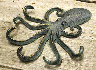 2 Heavy Cast Iron Octopus Towel Hanger Coat Hooks Hat Hook, Key Rack Nautical