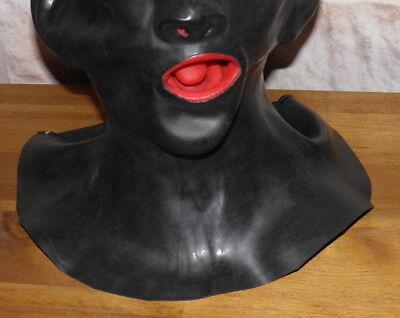 Latexmaske Kopf Voll-Maske anatomisch mit Mundauskleidung und Nasenschläuchen 2