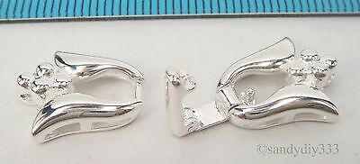 1x STERLING SILVER FLOWER BEADING THREAD CORD END CAP CONNECTOR CLASP #2302 4