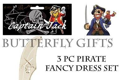 PIRATE CUTLASS SWORD EYE PATCH /& EARRING SET FANCY DRESS PROP COSTUME UK SLR