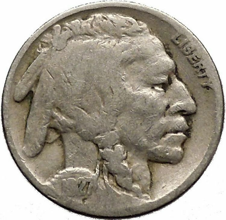 1927 BUFFALO NICKEL 5 Cents of United States of America USA Antique Coin i43686 2