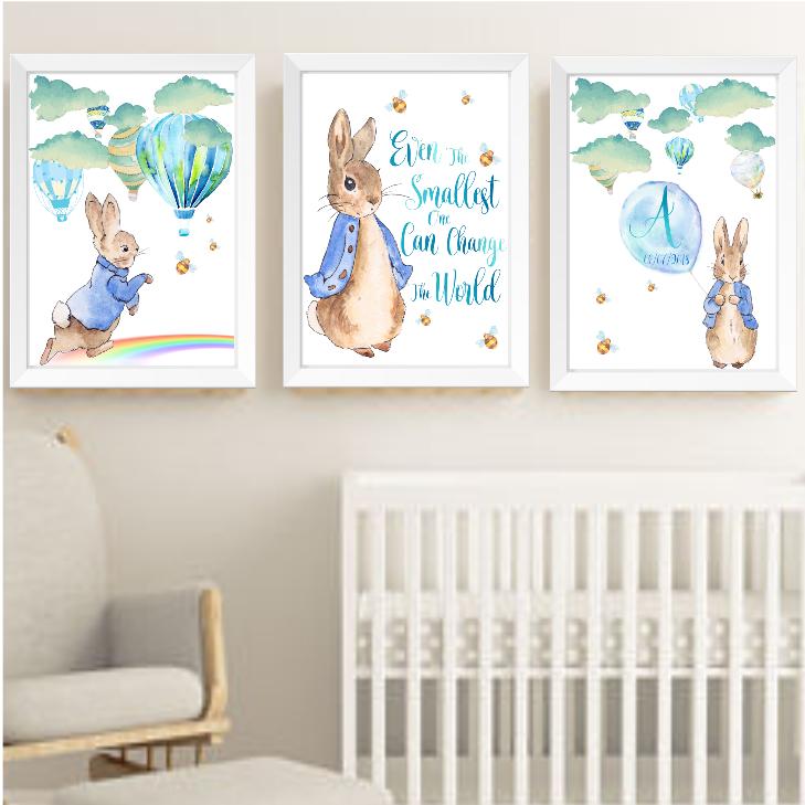 Peter Rabbit Nursery Wall Art Print Decor Baby Boy Hot Air