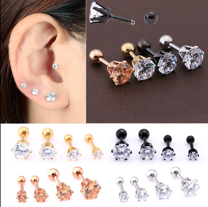 2pcs 16g Cz Gem Round Steel Barbell Tragus Cartilage Stud Earring Piercing