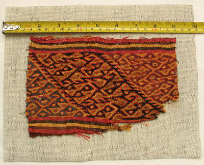 Pre-Columbian Chancay Textile Fragment AD1000-1400 SUPERB museum quality nice 3