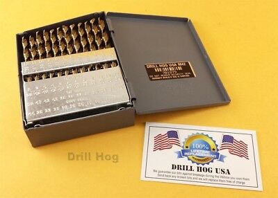Drill Hog USA 60 Pc NUMBER Drill Bit Set Wire Gauge COBALT M42 Lifetime Warranty 2