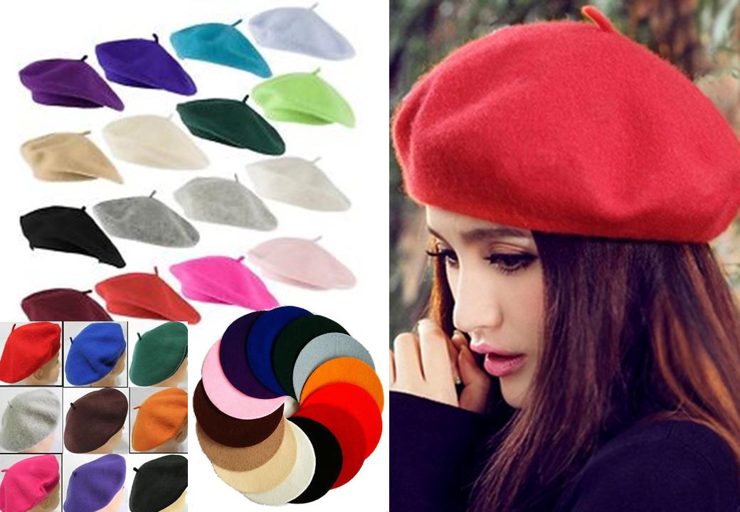 Nero Cappello Berreto Tinta Unita Lana Autunno da Donna Moda Francese 2 2  di 12 Vedi Altro 8bb1789d8cea