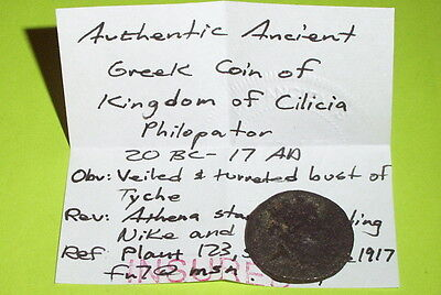 Authentic Ancient GREEK COIN 20 BC-17 AD kings of CILICIA Philopator athena nike 4