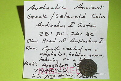 GREEK COIN of ANTIOCHUS I SOTER 281 BC-261 BC Apollo arrow bow omphalos Seleucid 3