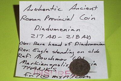 RARE Ancient ROMAN COIN eagle DIADUMENIAN 217 AD-218 AD Marcianopolis Moesia old 3