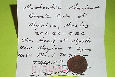 RARE Ancient GREEK COIN amphora lyre AEOLIS MYRINA 200 BC apollo my pi jug VG 4