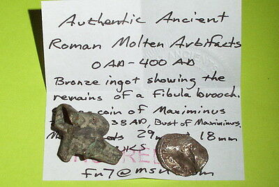 Ancient ROMAN MOLTEN ARTIFACTS bronze fibula ingot silver coin Maximinus lot