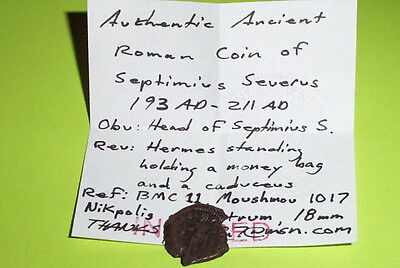 RARE Ancient ROMAN COIN hermes SEPTIMIUS SEVERUS money bag purse hand handbag 3