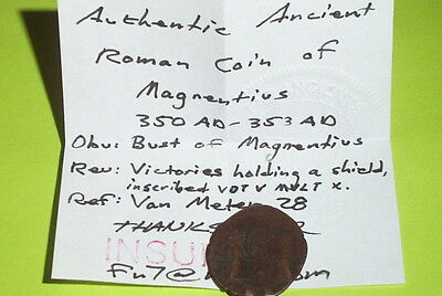 RARE Ancient ROMAN COIN angels MAGNENTIUS 350 AD-353 AD victories shield old g 3