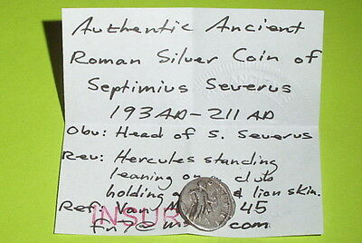 Ancient ROMAN SILVER COIN hercules SEPTIMIUS SEVERUS 193 AD-211 AD bow club lion 3
