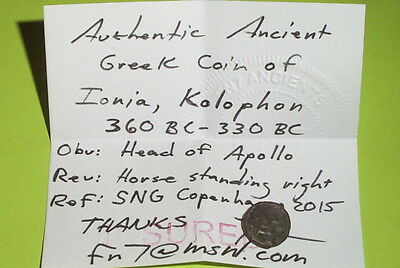 RARE Ancient GREEK COIN of IONIA KOLOPHON 360 BC-330 BC apollo horse VG artifact 3