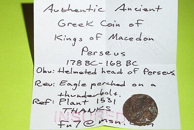 PERSEUS 178 BC Ancient GREEK COIN kings of macedon helmet eagle thunderbolt good