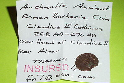 BARBARIC Ancient ROMAN COIN altar CLAUDIUS II GOTHICUS barbarian celtic error 3