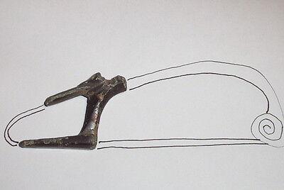 MASSIVE Ancient ROMAN BROOCH CATCHPLATE 200 BC huge fibula old artifact antique 6