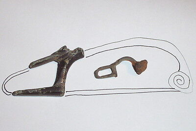 MASSIVE Ancient ROMAN BROOCH CATCHPLATE 200 BC huge fibula old artifact antique 2