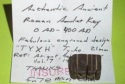 SCARCE Ancient ROMAN AMULET KEY inscription TYXH tyche lock tool antique ATIQOT 7