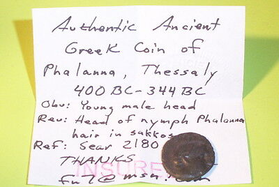 Phalanna Thessaly 400 BC ancient GREEK COIN nymph sakkos Sear 2180 old G antique 3