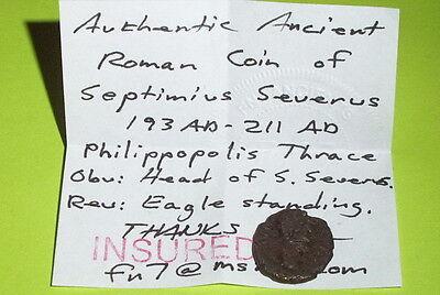 RARE Ancient ROMAN COIN eagle SEPTIMIUS SEVERUS philippopolis thrace 193-211 AD 3