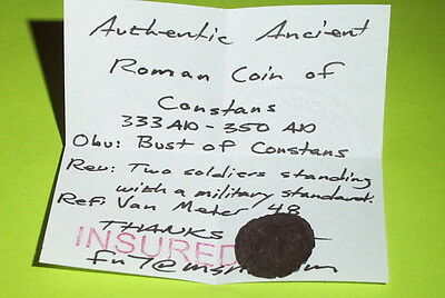 Ancient ROMAN COIN soldiers CONSTANS 333 AD spear shield military tool old VG ae 3
