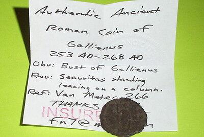 RARE Ancient ROMAN COIN securitas GALLIENUS 253-268 AD column old treasure money 3