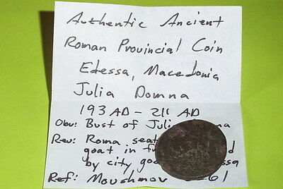RARE Ancient ROMAN COIN roma city goddess JULIA DOMNA tyche EDESSA MACEDONIA old 4
