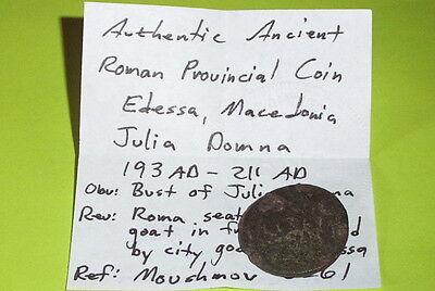 RARE Ancient ROMAN COIN roma city goddess JULIA DOMNA tyche EDESSA MACEDONIA old 4