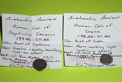 COLLECTION Ancient ROMAN limes denarius SEPTIMIUS SEVERUS & GETA 193-211 AD lot 3