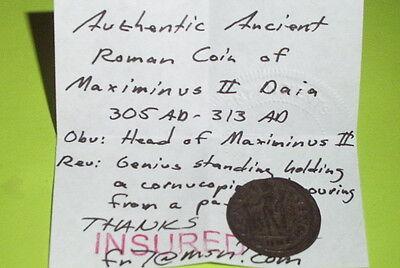Genuine Ancient ROMAN COIN genius MAXIMINUS II DAIA 305 AD patera tool VG VF old 3