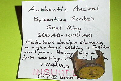 BYZANTINE SCRIBES SEAL RING 600 AD hand holding quill pen gold writing write old