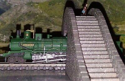 1/220 Z Gauge Hump Stair Overpass Bridge  With Door Laser Cut Engraved Painted 7
