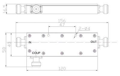RF Coaxial Directional Coupler, 698-2700MHz, 40dB, 200 Watt 4