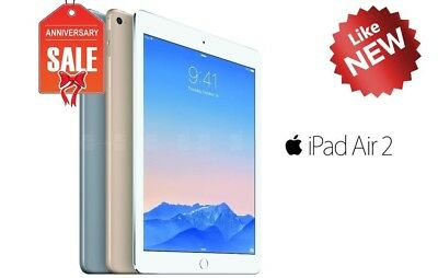 Apple iPad Air 2nd, WiFi + Unlocked - 16GB 32GB 64GB 128GB - Gray Silver Gold 2
