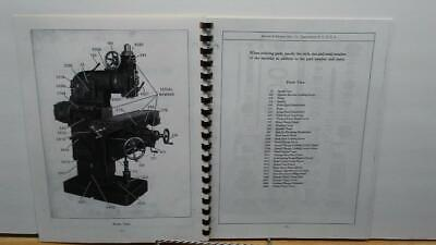 2 Plain Horizontal Milling Machine Parts Manual 0102 BROWN /& SHARPE No