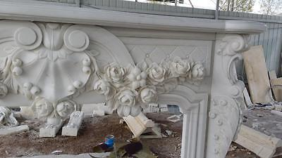 Beautiful Hand Carved Marble Floral  Fireplace Mantel - Jx1 3