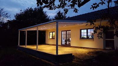 Terrassendach Alu Sonnenschutz-Stegplatten klar Terrassenüberdachung 6 m breit 12
