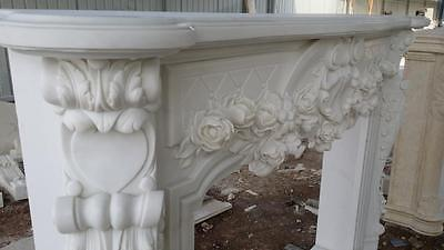 Beautiful Hand Carved Marble Floral  Fireplace Mantel - Jx1 5