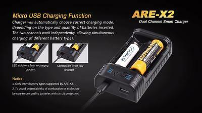 14500 26650 Fenix ARE-X2 Dual-Channel USB Charger for 18650 16340 2x 18650s