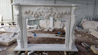 Beautiful Hand Carved Marble Floral  Fireplace Mantel - Jx1 2