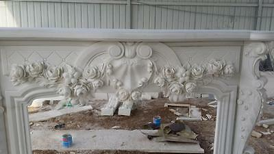 Beautiful Hand Carved Marble Floral  Fireplace Mantel - Jx1 6