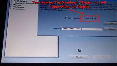DELL Bios Unlock / Removal Type  D35B / 1D3B / 1F66 /6FF1 2